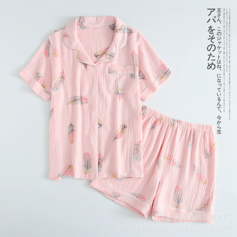 New Summer Short-sleeved Shorts Pajamas For Women 100% Cotton Crepe Cartoon Feather Print Pyjamas Turn-down Collar Home Suit