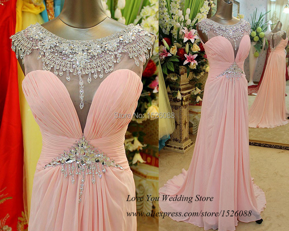 Luxury Crystal Pink Long Elegant Prom Dress 2015 Chiffon Special Occasion Dresses Formal Evening