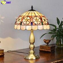 Настольная лампа FUMAT Tiffany в американском стиле, прикроватная лампа для спальни, светодиодный светильник в средиземноморском стиле