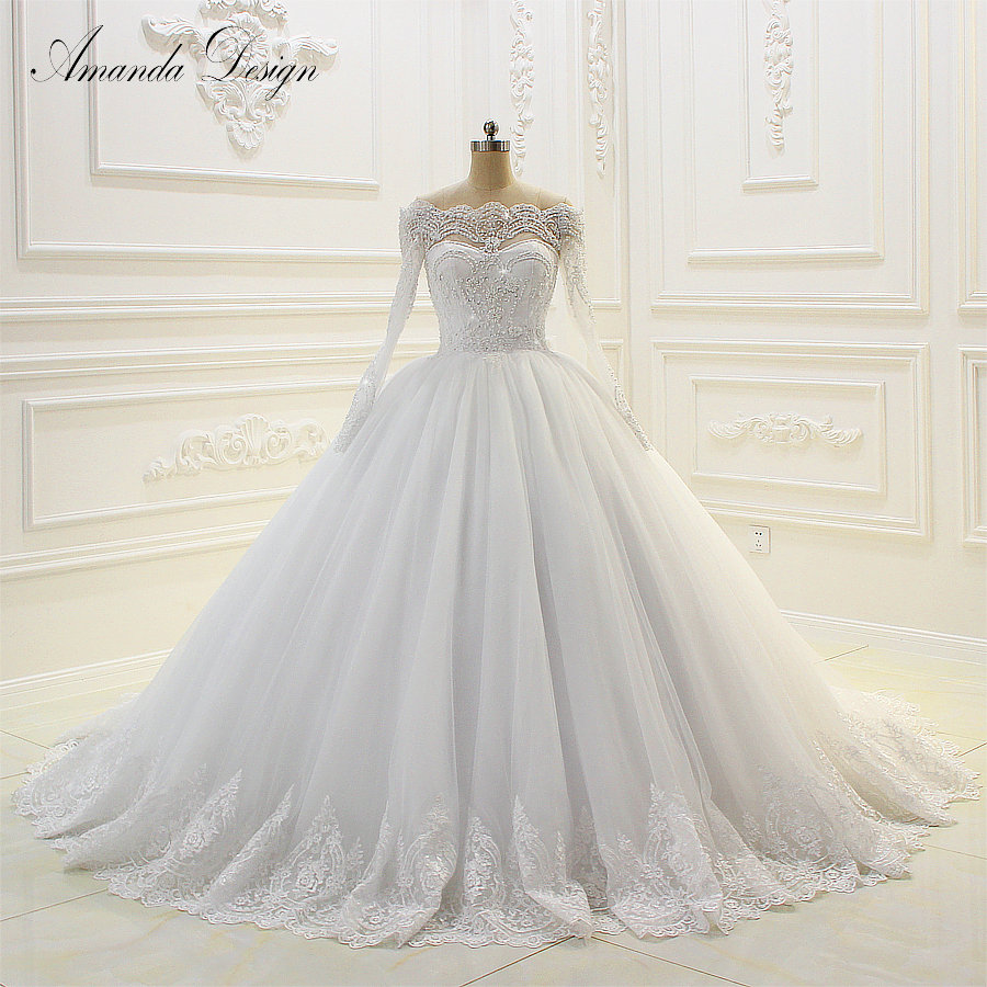 Popular off the shoulder ball gown embroidery lace wedding dress 2019