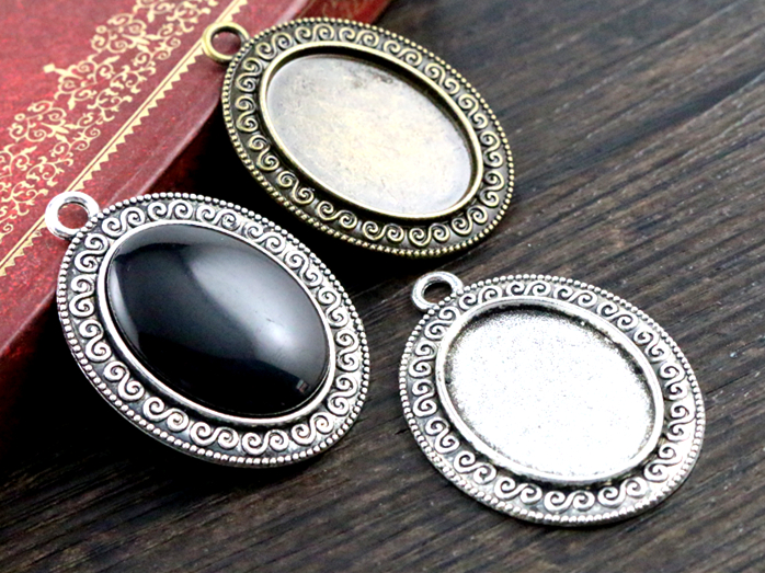 10pcs 18x25mm Inner Size Antique Silver And Bronze Flowers Style Cameo Cabochon Base Setting Charms Pendant necklace findings concise and cute bronze star pendant necklace