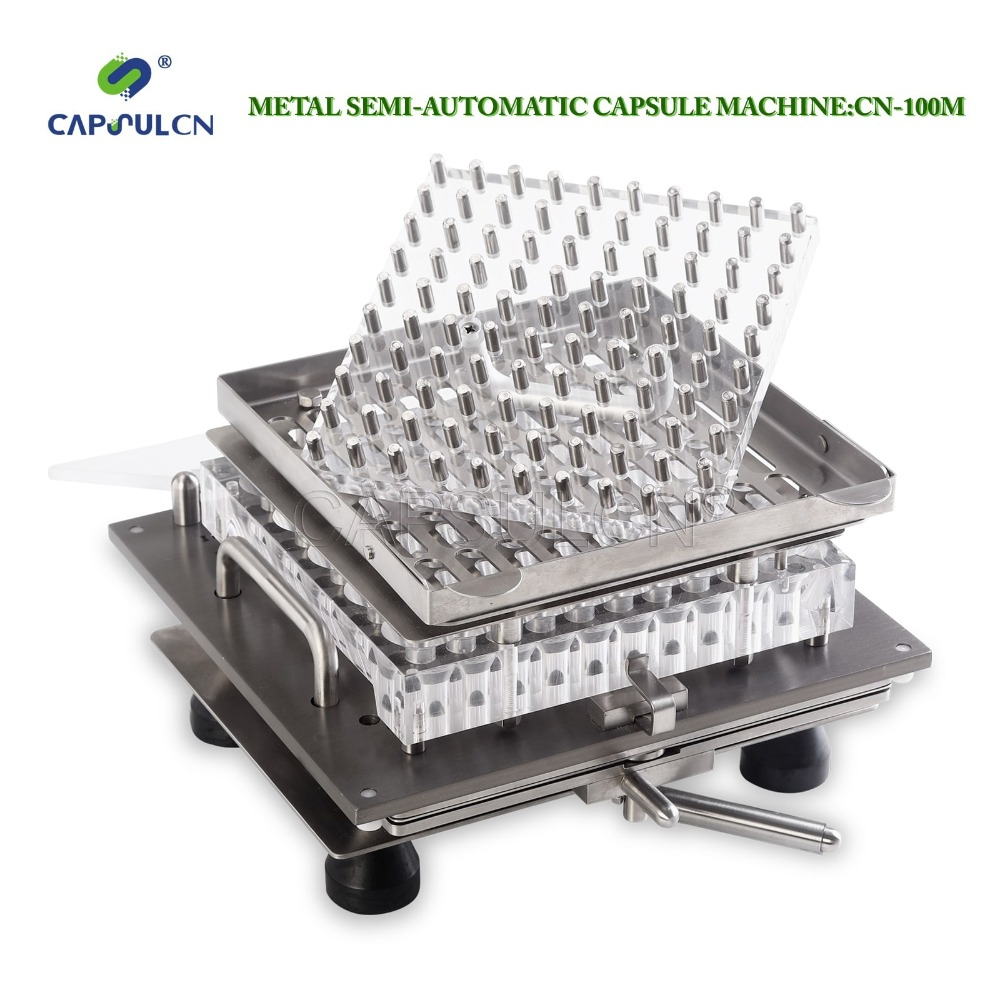 CapsulCN-100M Stainless Steel Semi-Automatic Capsule Maker, Capsule Filling Machine for Size 000  double hopper stainless steel semi automatic food chemical particle filling machine