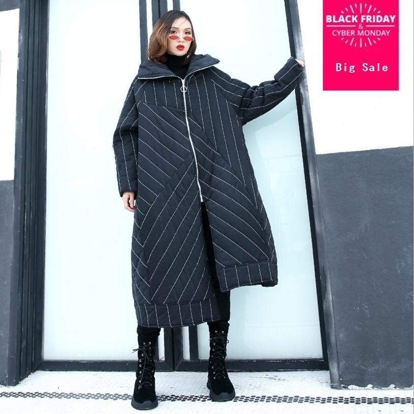 Winter women's jacket hooded long sleeve   parkas   loose striped irregular coat warm cotton padded overcoat fashion outwear L1633