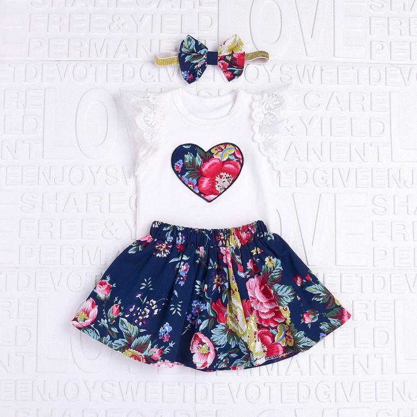 MUQGEW 2018 Summer 3Pcs Baby Girls Floral Print Short sleeve Lace Tops with Skirt and headband Outfits Set Baby Kleding GB2 mandala print skirt