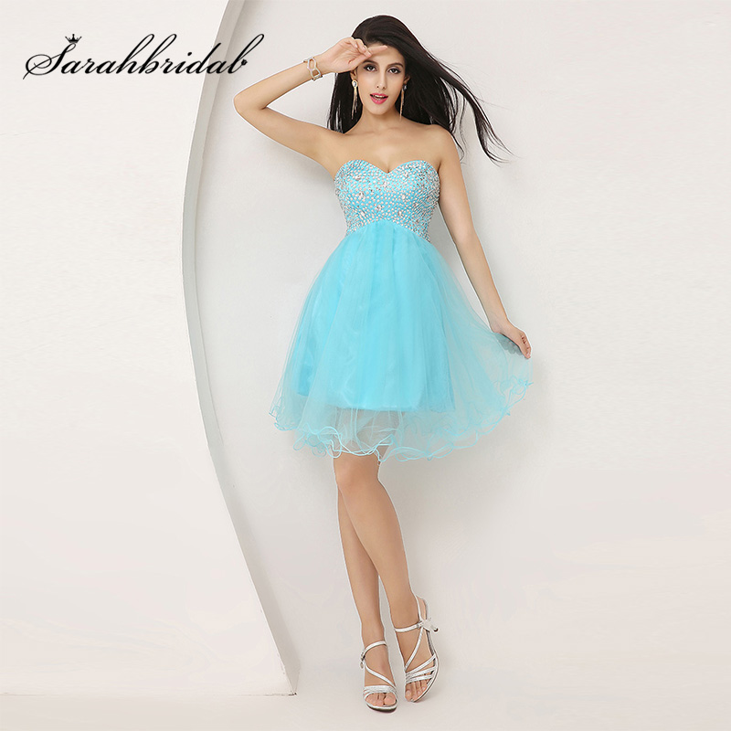 Cheap New Arrival Sky Blue Cocktail Dresses Knee- Length Tulle Sequined Sweetheart Prom Gowns Simple Little Party Dress OS034
