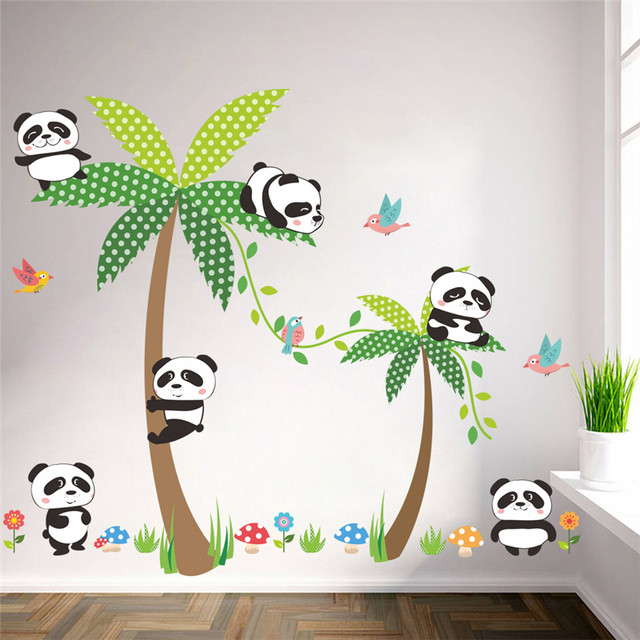 Cute Panda Palm Tree Birds Wall Decals For Kids Rooms Bedroom Home Decor  Cartoon Animal Wall Stickers Diy Poster Pvc Mural Art