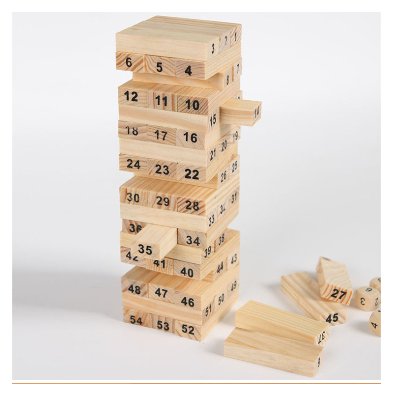 New Wooden Tower Wood Building Blocks Toy Domino 54 +4pcs Stacker Extract Building Educational Game Gift wooden building blocks toy domino stacker cartoon animals diy disassembling model jenga education toy for baby kids children