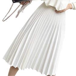 2018 Весна для женщин Элегантная складчатая юбка высокая талия белый длинная юбка женская высокое качество миди черный Saia