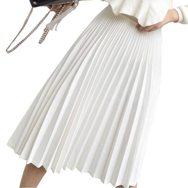 2018 Spring Women Elegant Pleated Skirt High Waist Women White Long Skirt Female Ladies High Quality Women Midi Skirt Black Saia