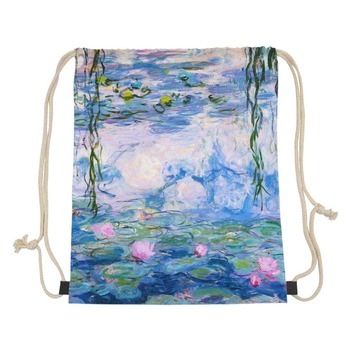 Monet famous oil painting For Women Fashion Summer Travel Shoulder Bag High Quality Small Kids Girls Drawstring Bags backpack
