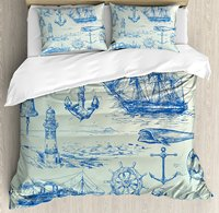 Nautical Anchor Duvet Cover Set Whale Sail Boat Steering Wheel and Old Lighthouse Fishing Theme Sketchy 4 Piece Bedding Set
