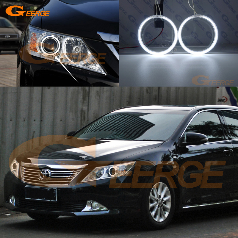 For toyota camry XV50 2011 2012 2013 2014 Excellent angel eyes Ultra bright headlight illumination CCFL Angel Eyes kit Halo Ring hochitech excellent ccfl angel eyes kit ultra bright headlight illumination for ford edge 2011 2012 page 2