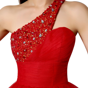 Image 5 - Sexy One Shoulder Short Graduation Dresses Beading Fashion Crystal Red Tulle Homecoming Cocktail Gowns vestidos de fiesta OS230