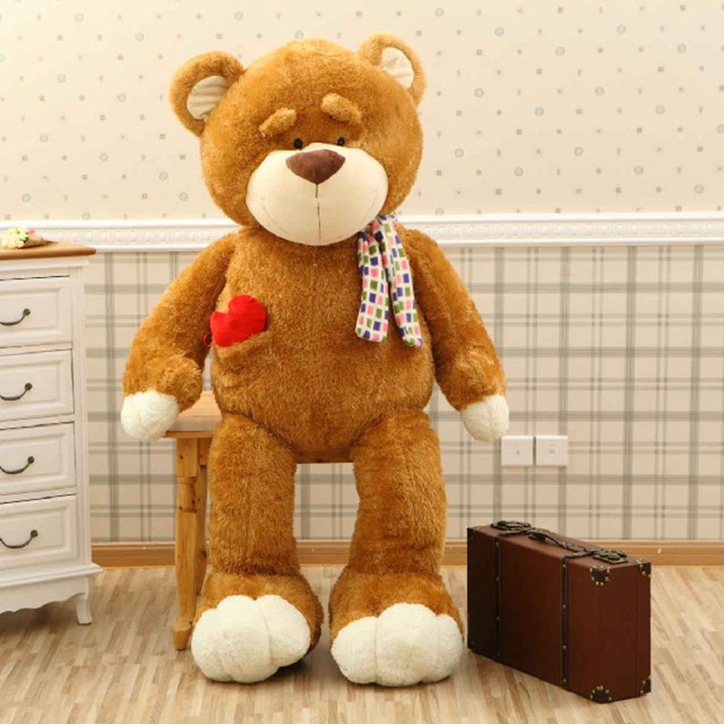 lovely brown teddy bear toy cute plush love bow bear doll gift 80cm huge lovely new plush teddy bear toy stuffed light brown teddy bear with bow birthday gift about 160cm
