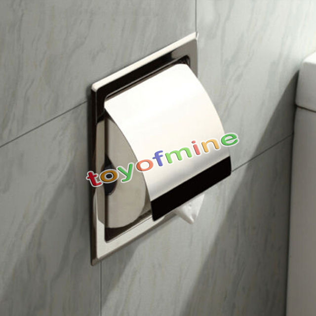 Recessed wall embedded stainless steel roll holder toilet paper ...