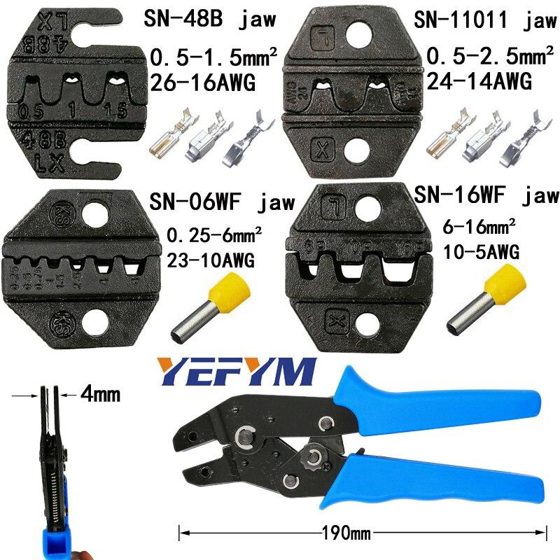 Für Tab 2,8 4,8 6,3 C3 Xh2.54 2510 Stecker Isolierung Rohr Terminal Werkzeuge Schrumpffrei Yefym Crimpen Zangen Backe kiefer Breite 4mm/zangen 190mm