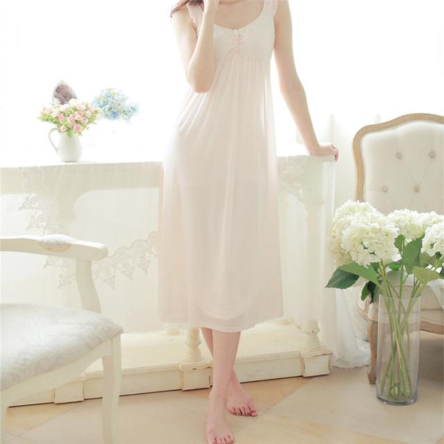 Verão Spaghetti Strap Longo Nightgowns Sexy Vestido Sem Mangas Casa Sólida Sleepwear Sleepwear Camisola Romântica feminino # HH16