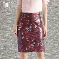 Women vintage style red floral print genuine leather sheepskin lamb pencil skirt faldas jupe saia etek Free shipping LT1593