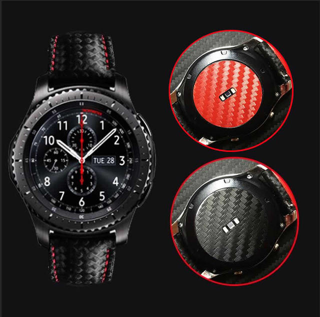 2PCS Carbon Fiber Back Screen Protector Film Cover For Samsung Gear S3 Classic W