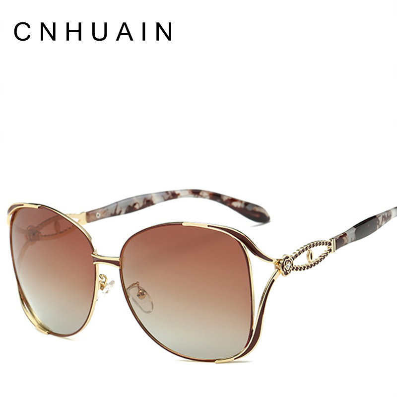 cnhuain fashion womens glasses polarized sunglasses female brand designer flower large frame
