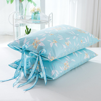 HAKOONA Bow Knot Bed Pillow Pillowcase A Pair 48x74cm COTTON Fabric Queen Bed Pillow Cover For