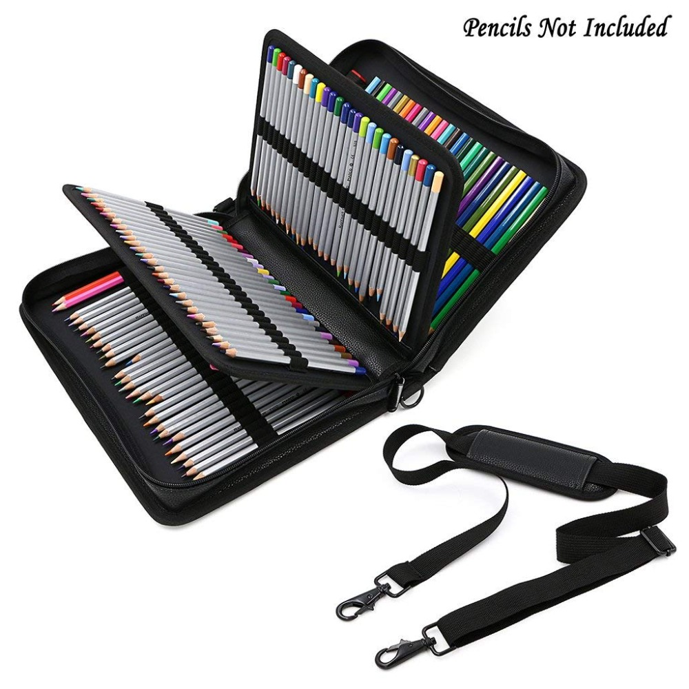 160 Holes Fold PU Leather Pencil Case Large Capacity Portable Handbag Pen Box Pencilcase Pen Bag Colored School Pencil Cases dainayw 127 holders large capacity school pencil case pu leather portable colored pencil holder pen bag for artist students