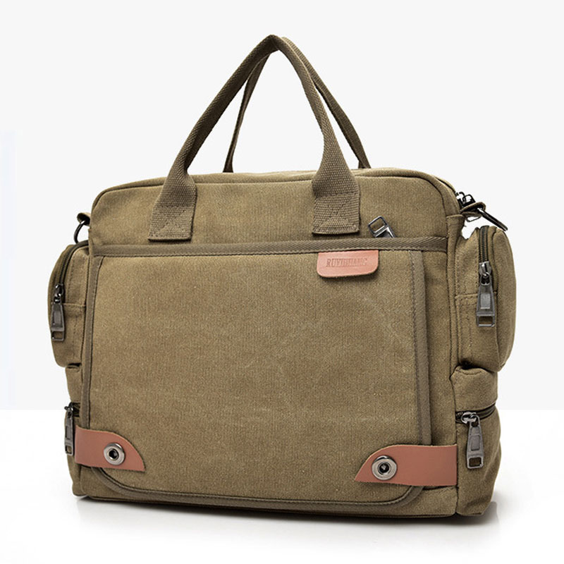 Laptop Briefcase Travel Tote-Sling Shoulder-Bag Canvas Messenger Crossbody Men's Large