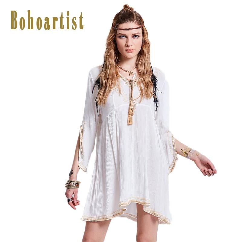 Bohoartist Apparel Women Long T Shirt White Tassel Flare Sleeves Black V Neck Lace Up Tshirt