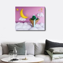 Laeacco CArtworkoon Moon Cloud Island Wall Artworkwork Posters and Prints Canvas Painting Living Room Decoration Home Decor