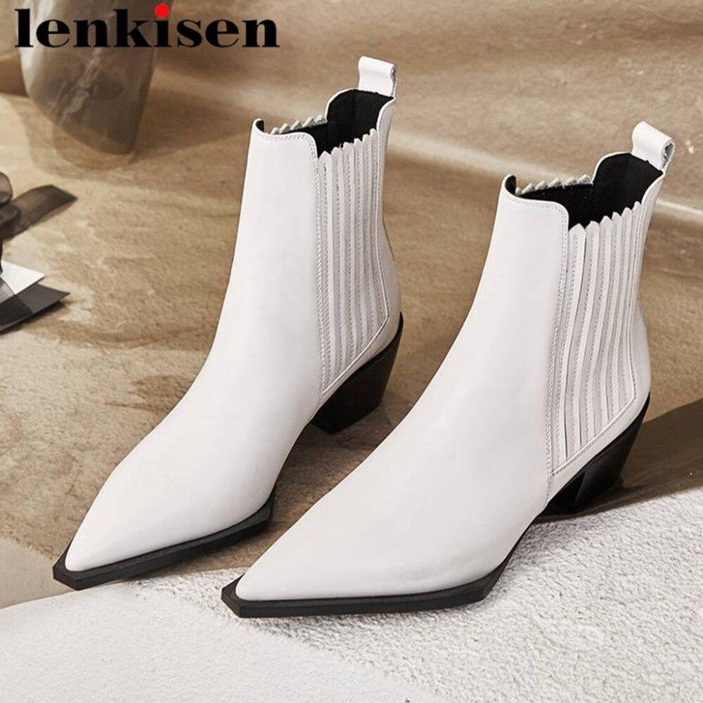 Lenkisen 2018 new arrival pointed toe cow leather solid slip on chelsea boots med strange heels