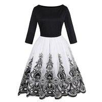 Sisjuly Women Vintage Autumn Dress Floral Print Mesh Party Dresses O Neck Elegant Female Vintage Dress