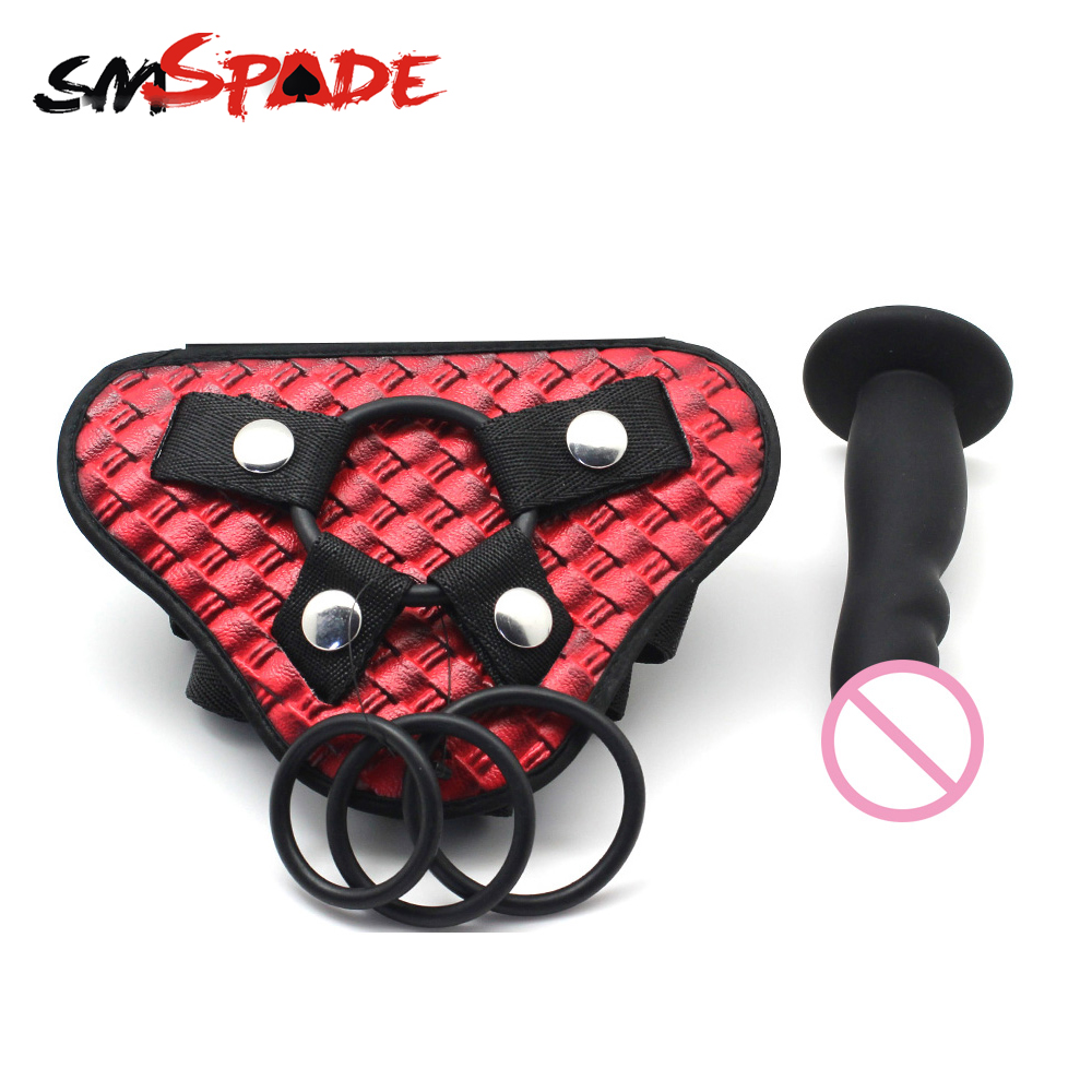 Smspade PU Unisex Universal Adjustable Strap-On Harness Different Size Dildo Strap on Harness Fetish Bondage Sex Toys for Couple sean allen sex size and science a different book on sex