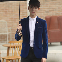 Classic Costume Homme Mariage Blazer Homme Slim Fit Blue Velvet Blazer Mens Velvet Blazers Costume Homme