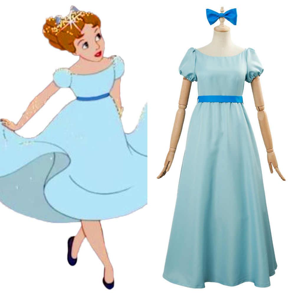Deguisement Cosplay Mignon Peter Pan Wendy Longue Robe Bleue Tenue De Carnaval D Halloween Pour Adultes Femme Et Fille Aliexpress