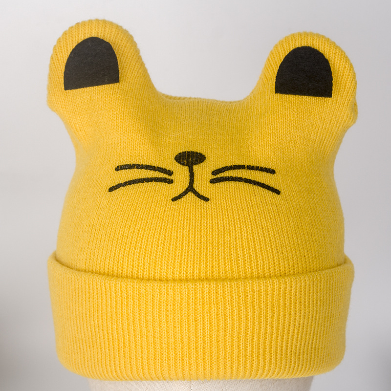 0 12 months Korean spring and autumn baby pullover hat cute little cat modeling baby cotton knit hat children 39 s hat in Hats amp Caps from Mother amp Kids