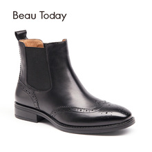 Beautoday броги Ботинки Челси Для женщин Одежда высшего качества натуральной телячьей кожи Wingtip бренда полусапожки эластичные Обувь на квадратном каблуке 03026