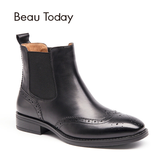 BeauToday Brogue Chelsea Boots Women Top Quality Genuine Calf Leather Wingtip Brand Ankle Boot Elastic Square Toe Shoes 03026