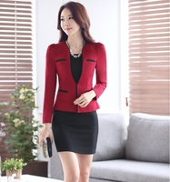 Plus Size Professional Spring Fall Business Suits With Jackets And Dress Ladies Office Blazers Outfits OL