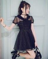 Księżniczka sweet bobon21 japoński lato w stylu lolita dress sweet czarny lub biały organza połowy talii linii krótki dress d1461