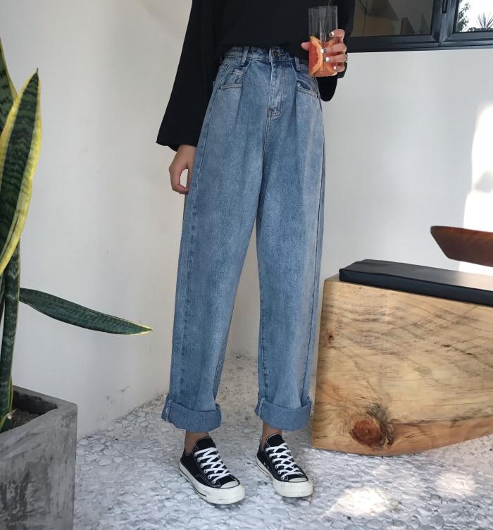 GUUZYUVIZ Loose Vintage Woman Jeans 17 Autumn Bleached Casual Boyfriend Curl Denim Wide Leg Pants Oversize High Waist Jean 10