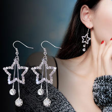 Elegant Women Lady Star ต่างหูคริสตัล Ear Stud Dangle Hoops (China)