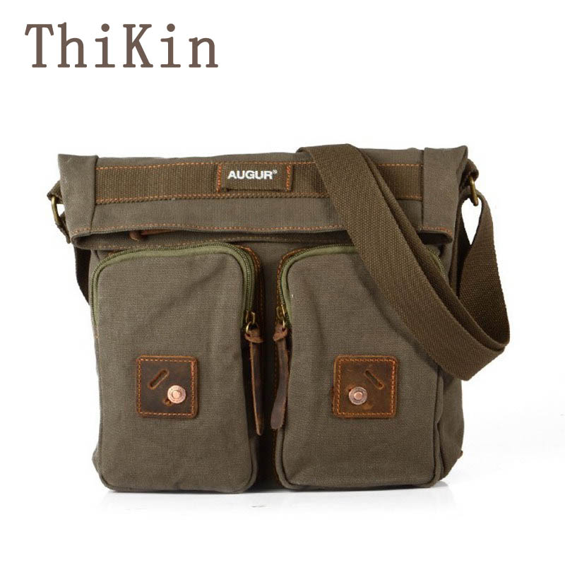 ThiKin Military Lightweight Canvas Men Messenger Solid Color Travel Crossbody Bag Military Women Portable Single Strap Bag