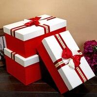 Três Tamanho Grande Presente Caixa de Embalagem do Presente de Papelão de Alta Qualidade Caixa de presente de Casamento Vermelho Caixa de Underwear Caixa De Embalagem Peruca com tampa