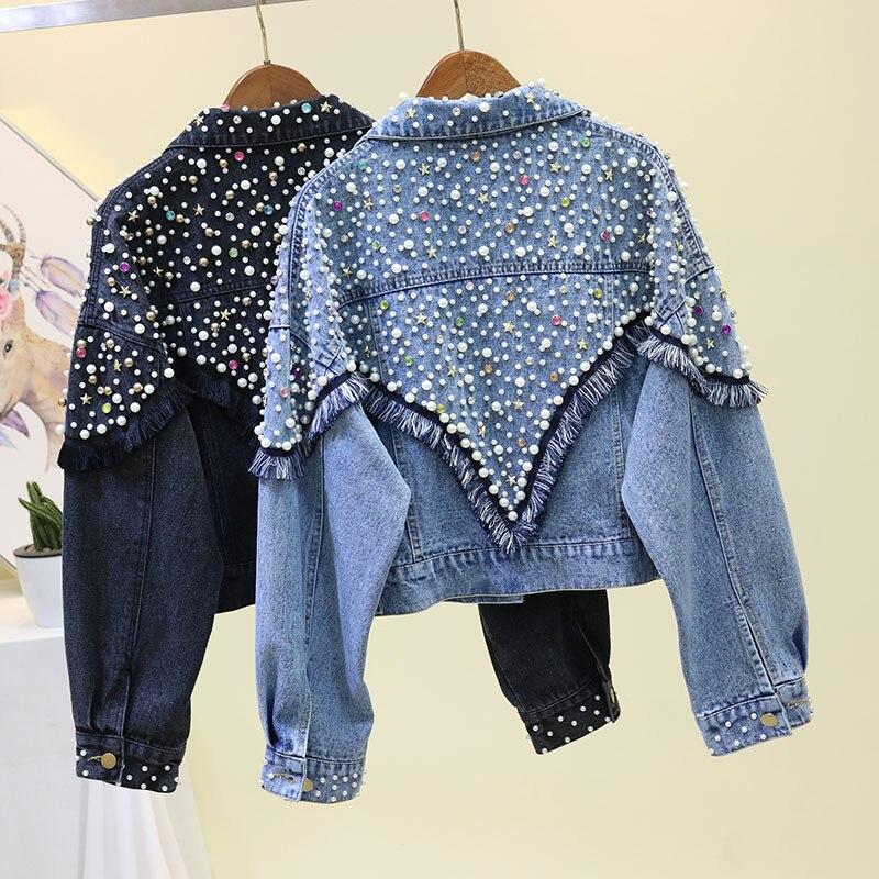 Pearl Beading Denim   Jacket   Women Coat Long Sleeve Tassel Vintage Casual Loose Jean   Jacket   Bomber Denim Coat   Basic     Jacket   Outwear