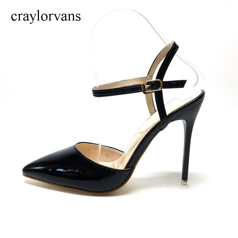 Frauen Sandalen Größe 34 39 Mode Sommer Schnalle High Heel Büro Dame Pumpe Frau Schuhe Schwarz PU Sandalen-in Hohe Absätze aus Schuhe bei  Gruppe 1