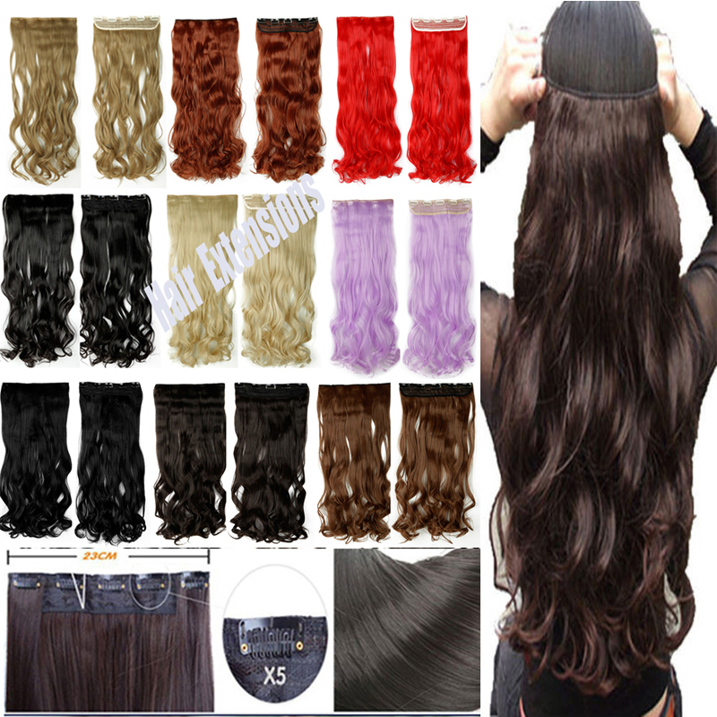 2015 24 Super Long One Piece 5 Clips In On Hair Extensions Full