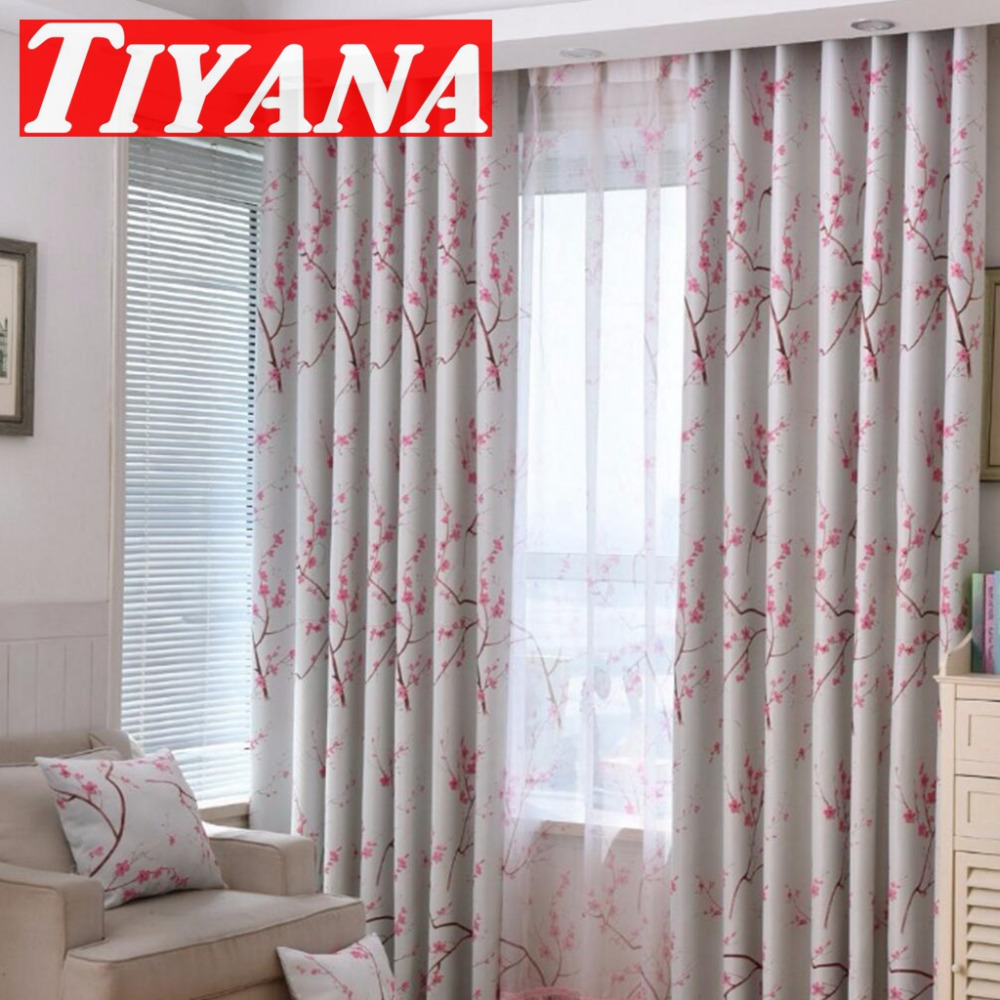 Designer curtain panels - Floral Printed Pattern Curtain Panels Plum Flower Design Home Decoration Curtain Drapery For Living Room Pink