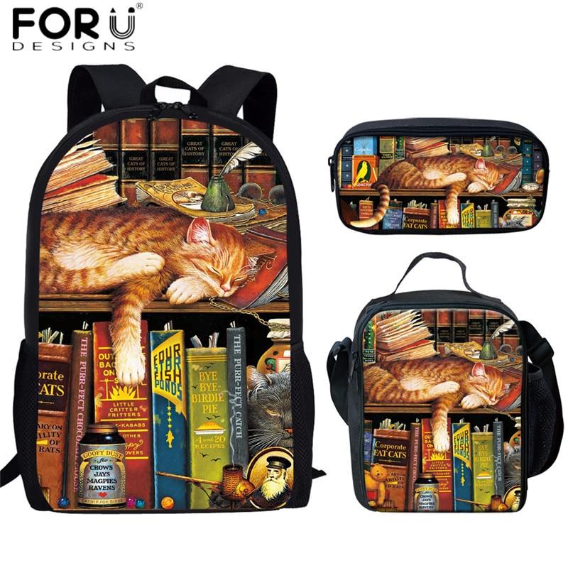 FORUDESIGNS Retro Teens School Bags Funny Lazy Bookshelf Sleeping Cat Print Shoulder Backpacks for Child 3pcs/set School Bookbag(China)