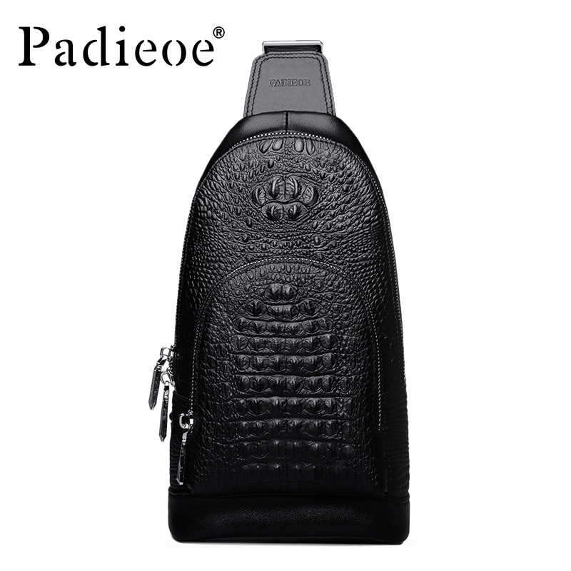 Padieoe Brand 2017 Fashion Men Chest Packs  Messenger Bags Men's Genuine Leather Shoulder Bag  New Cross Body Bags Free Shipping