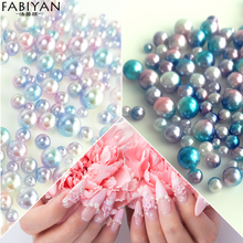 1 Pack Round Pearl Gradient Magic Mermaid Colorful Mixed Sizes Design Nail Art Decorations Bead Manicure Rhinestone Accessories